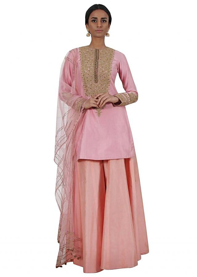 Blush pink embroidered kurti with peach pink sharara