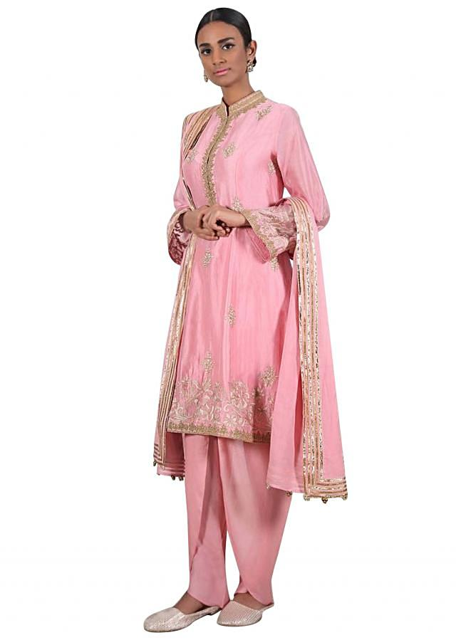 Blush pink gotta embroidered suit matched with dhoti pants