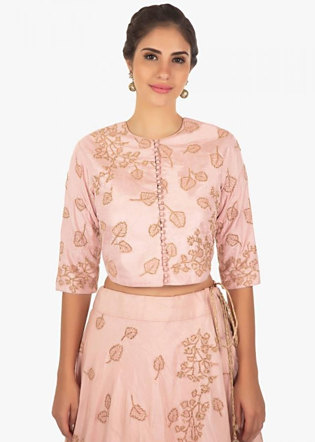 blush pink raw silk lehenga with a matching blouse and a jacket only on Kalki