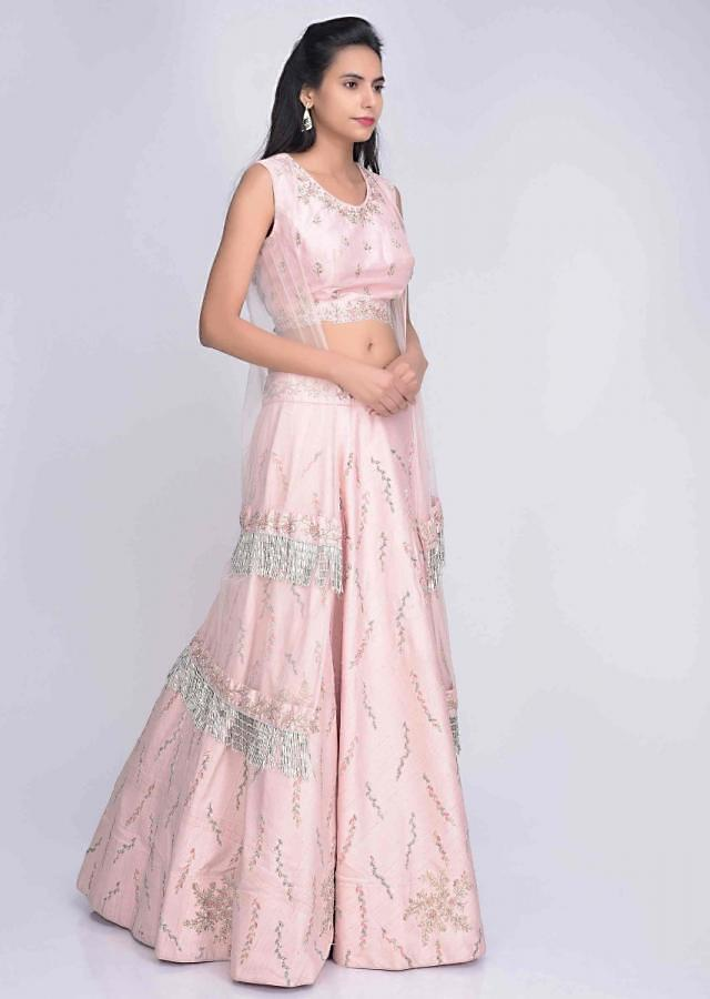Blush Pink Lehenga Choli In Raw Silk With Attatched Net Cape Online - Kalki Fashion