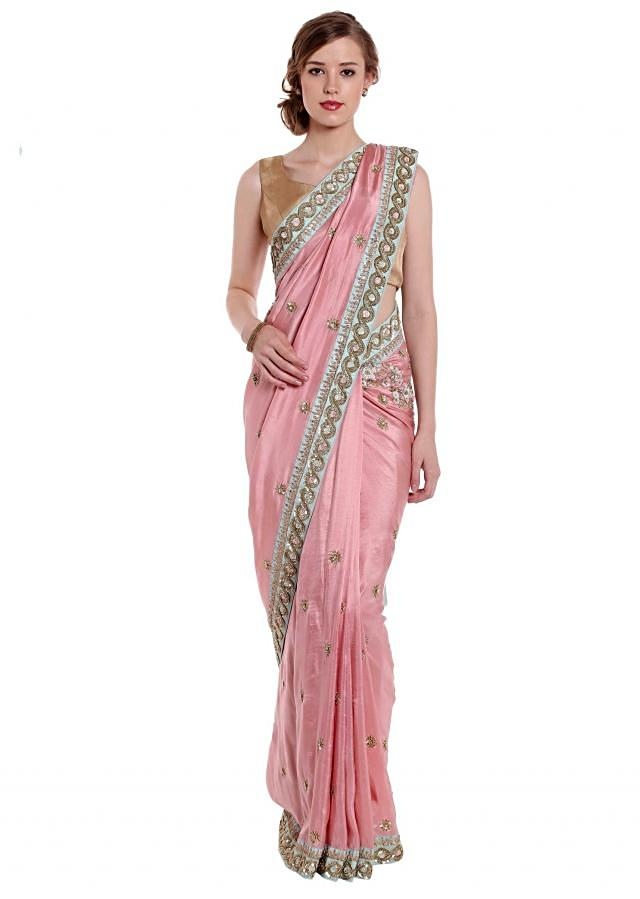 Blush pink saree in cut dana and french knot embroidery only on Kalki