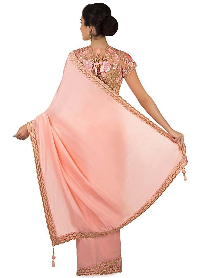 Blush pink saree with ready blouse adorn in sequin and cut dana only on Kalki
