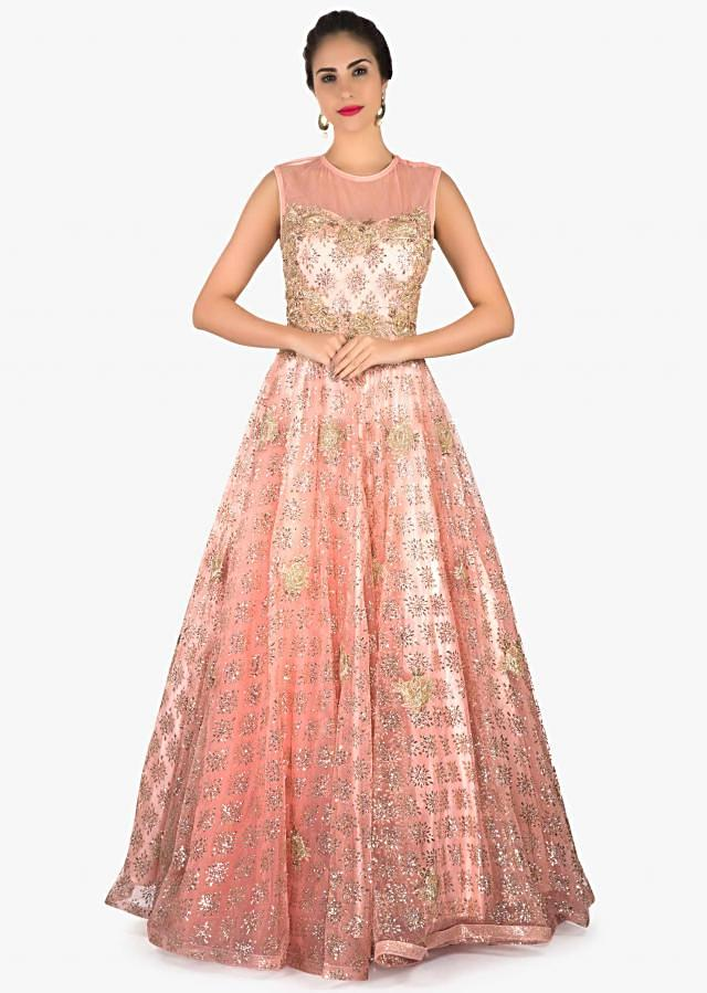 Blush pink shimmer gown in net with zari embroidered bodice only on Kalki