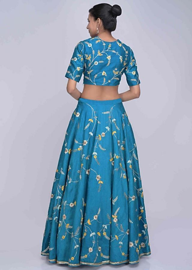 Bondi blue raw silk lehenga set with mint green printed organza dupatta only on Kalki