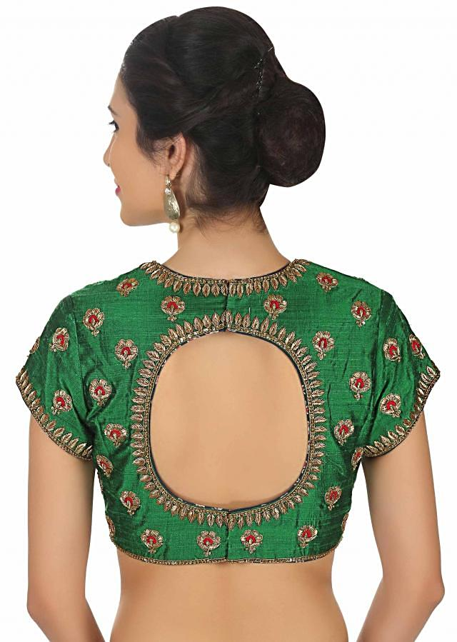 Bottle green blouse in raw silk with embroidered butti only on Kalki