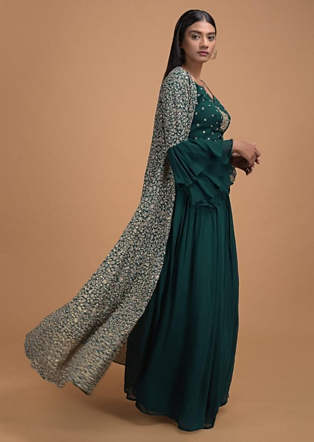 Bottle Green Palazzo Suit And Jacket With Jaal Embroidery And Ruffle Sleeves Online - Kalki Fashion