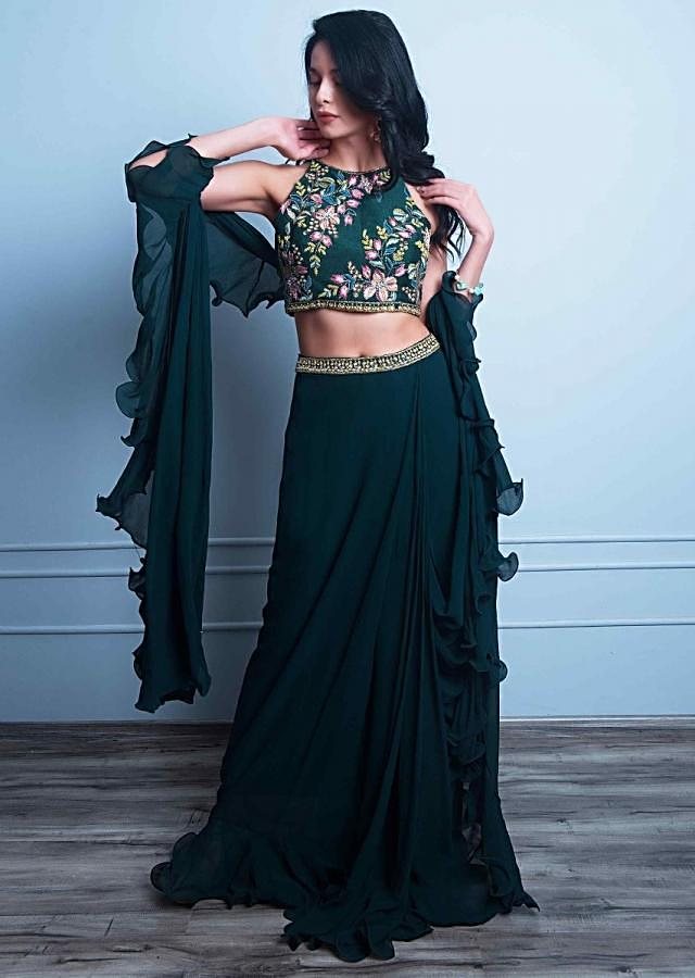 Bottle green ready pleated georgette saree with ruffled pallo only on Kalki