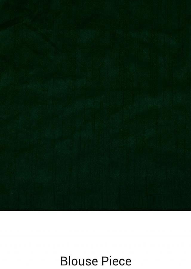 Bottle green saree in satin with embroidered butti and border only on Kalki