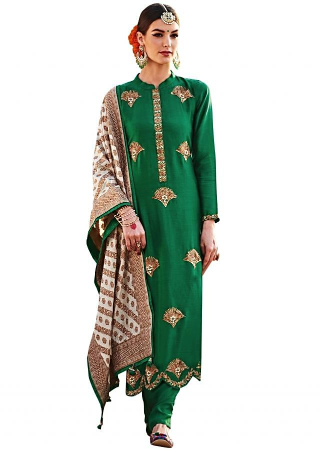 Bottle green straight suit in pita zardosi embroidery