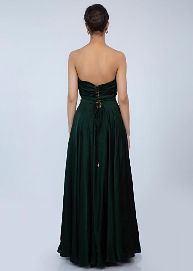 Bottle green strapless satin gown with embroidered net bodice only on Kalki