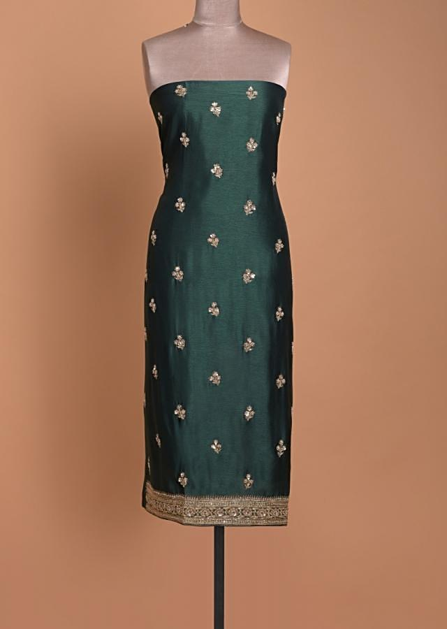 Bottle Green Unstitched Suit With Embellished Floral Buttis And Printed Dupatta Online - Kalki Fashion