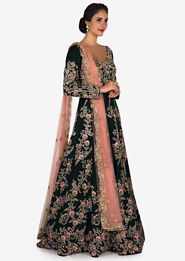 Bottle green anarkali gown beautified with resham and zari embroidery work only on Kalki