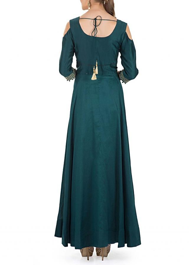 Bottle Green Cotton Silk Top, Embroidered Cotton and Net Dupatta and Lycra Churidar only on Kalki
