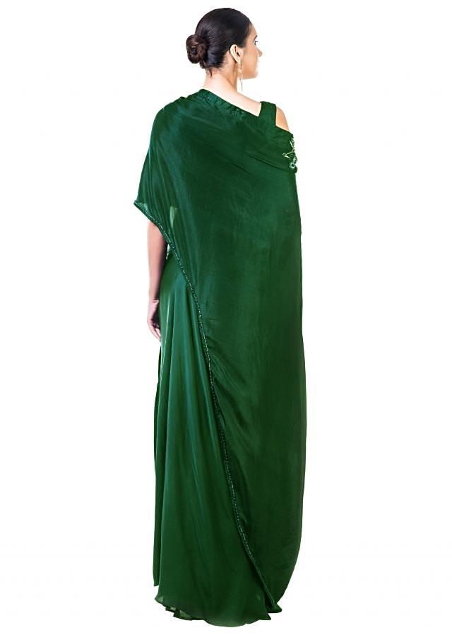 Bottle Green Draped Gown with a Hand Embroidered Cape Dupatta