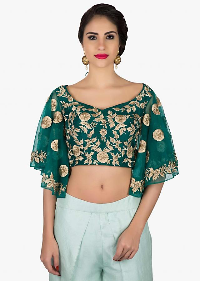 Bottle green embroidered crop top matched with tulip pants only on Kalki
