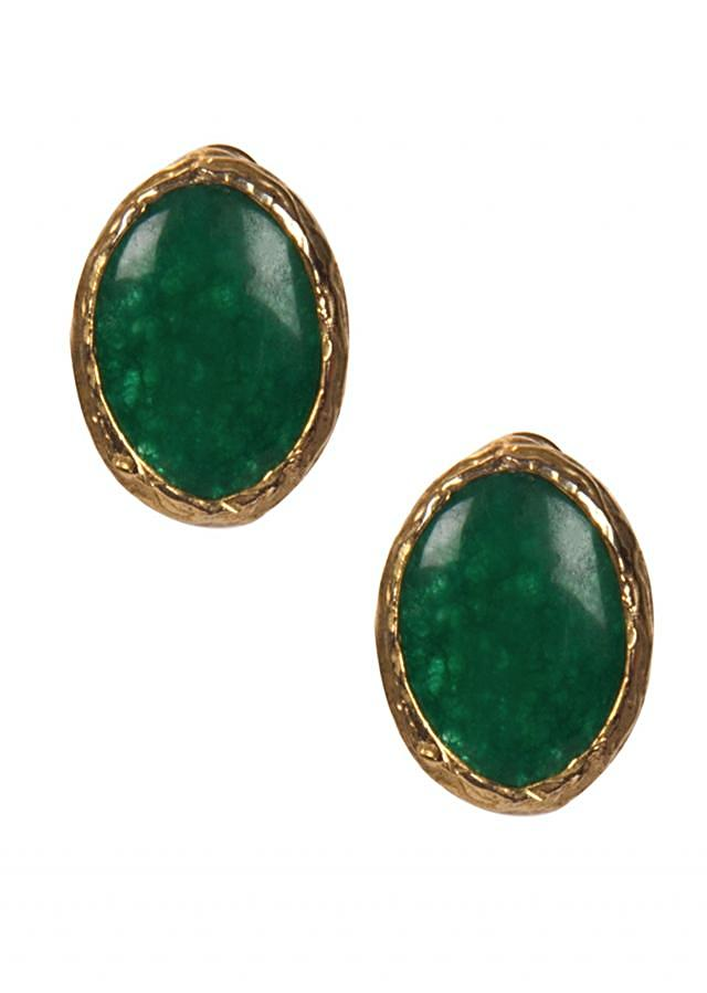Bottle Green Emerald Stone Studs only on Kalki