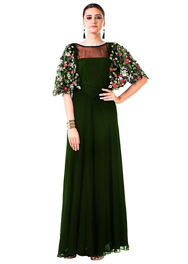 Bottle Green Gown With Hand Embroidered Cape Style Online - Kalki Fashion