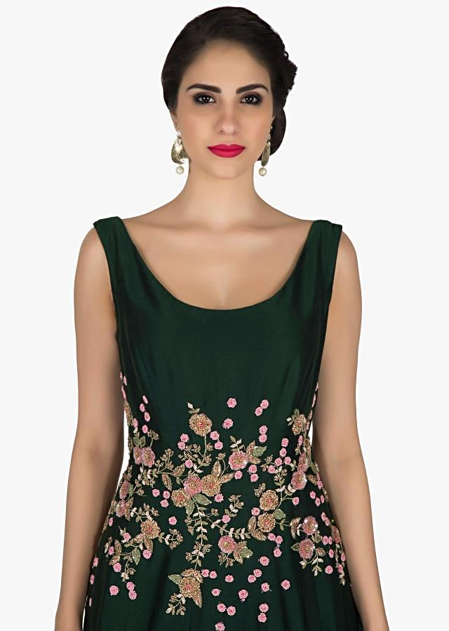 Bottle green raw silk gown with flower embroidery only on Kalki