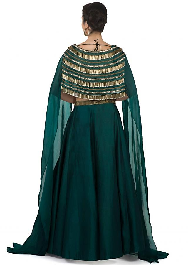 Bottle green Skirt and Blouse with Organza Cape Featuring Tassels Only on Kalki