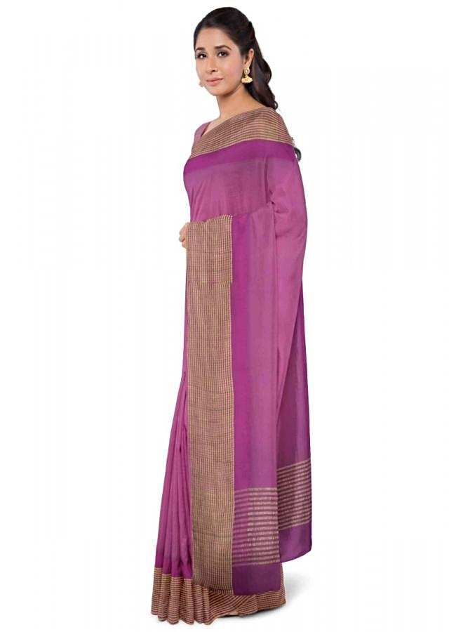 Boysenberry Purple Saree In Chiffon With Weaved Pattern Online - Kalki Fashion