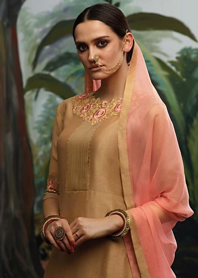 Brick brown semi stitched suit in pleats and resham embroidery