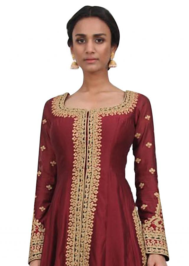 Brick red A line suit with farshi pant