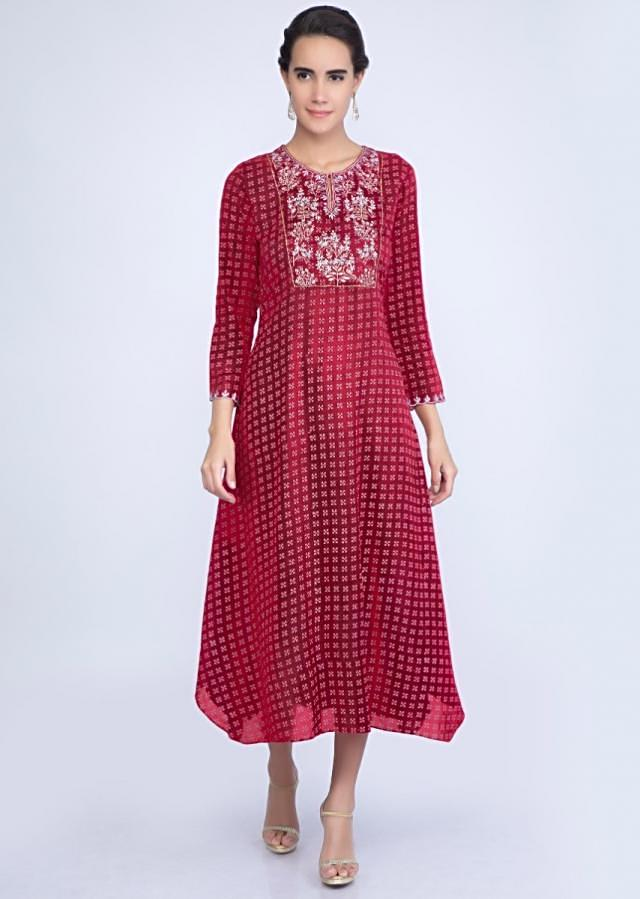 Brick red asymmetric kurti with resham embroidered placket only on Kalki