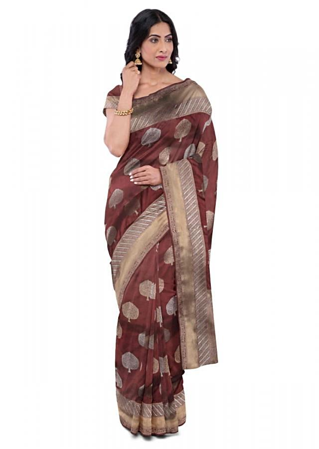 Brick Red Banarasi Saree With Weaved Tree Buttis Online - Kalki Fashion