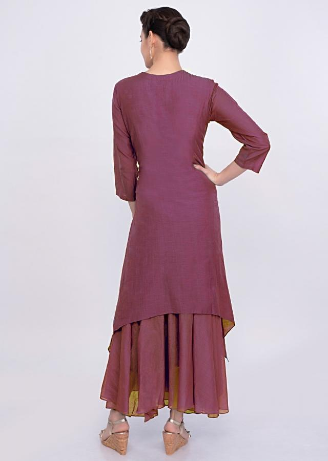 Brick Red Layered Cotton Tunic Dress Online - Kalki Fashion