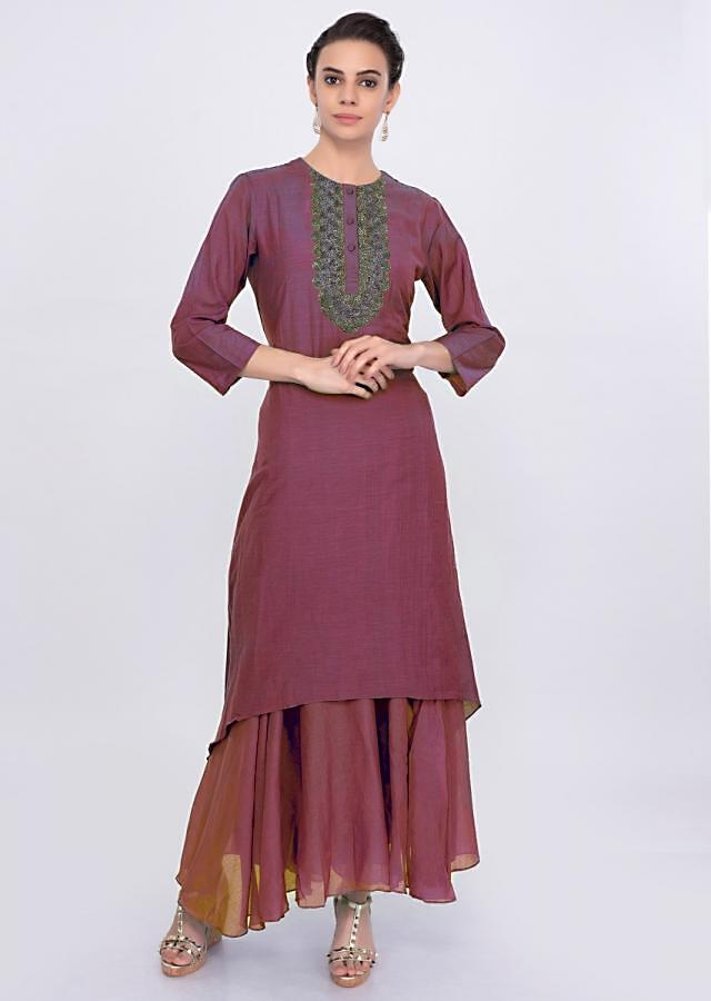 Brick Red double layer cotton tunic dress only on Kalki