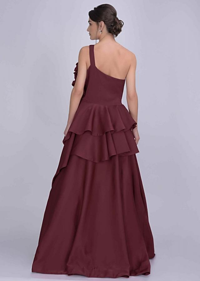 Brick Red Gown In Dupion With Fancy 3D Flower Detail On The Bodice Online - Kalki Fashion