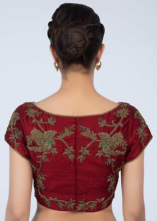 Brick red raw silk blouse with zardosi embroidery in floral and bird motif only on Kalki