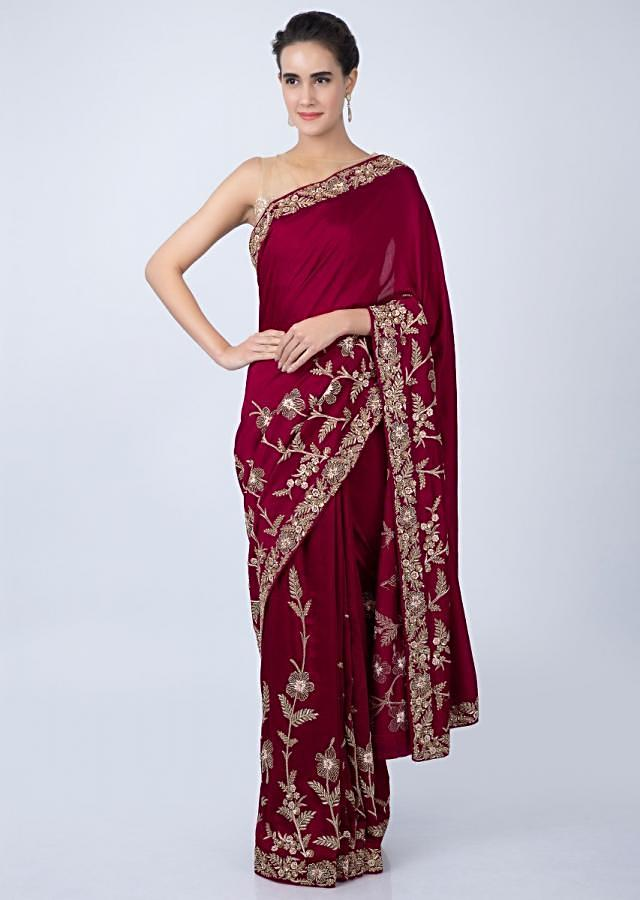 Brick red silk saree with floral embroidered border only on kalki