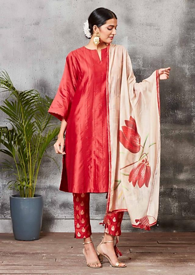 Brick Red Straight Cut Suit With Brocade Silk Pants And Floral Printed Dupatta Online - Kalki Fashion