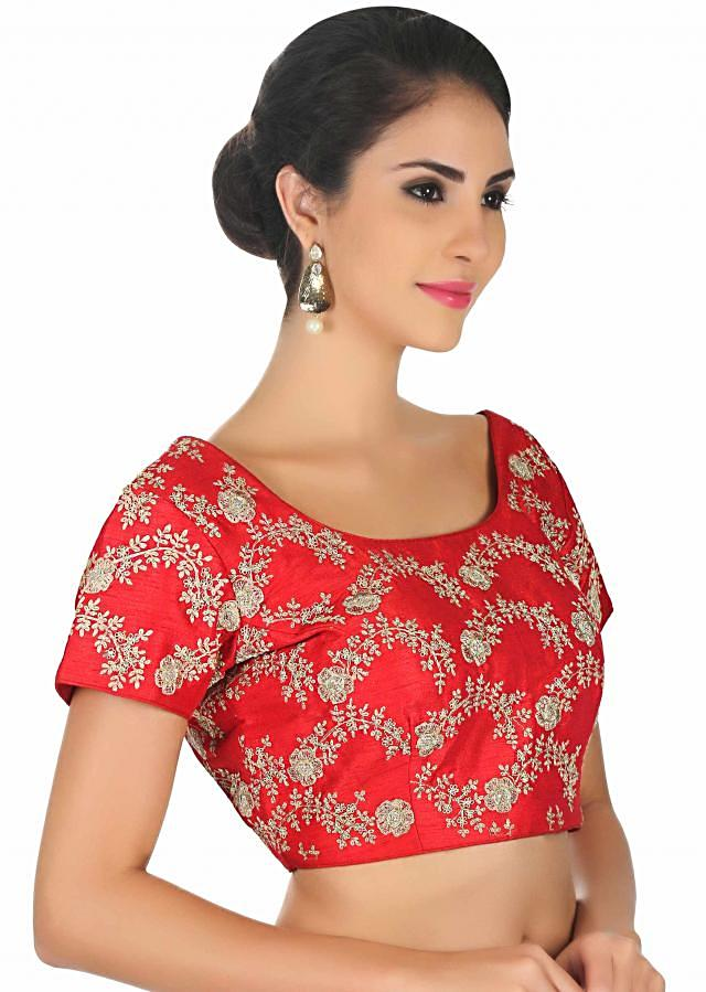 Bright red blouse in raw silk in zari floral embroidery only on Kalki