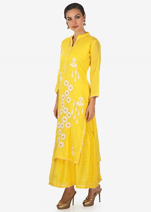 Bright yellow double layer kurti embellished in thread work only on Kalki