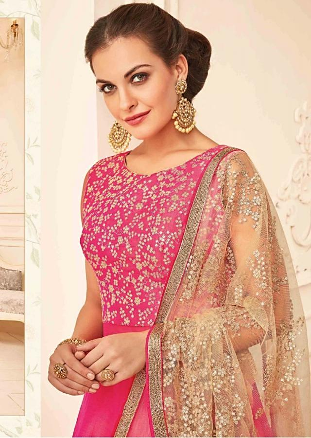 Bright pink anarkali suit in raw silk with sequin and resham bodice