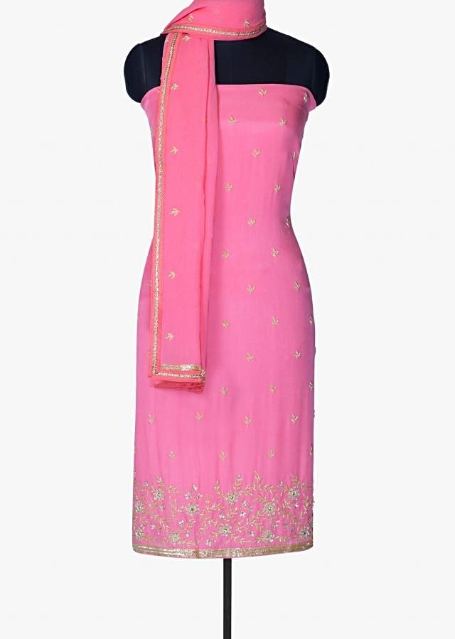 Bright pink unstitched suit in chiffon with sequin only on Kalki