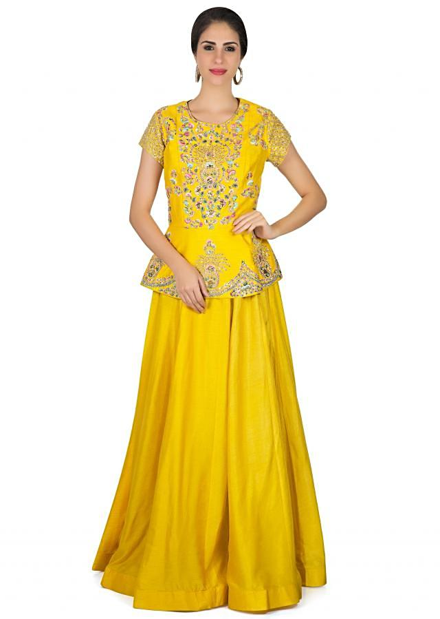 Bright yellow dress with peplum top in floral motif embroidery only on Kalki