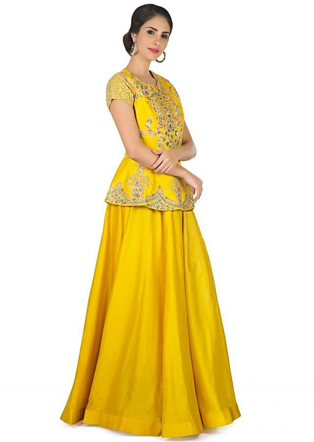 Bright Yellow Dress With Peplum Top In Floral Motif Embroidery Online - Kalki Fashion