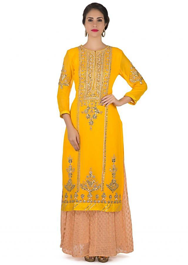 Bright yellow straight palazzo suit in gotta lace and patch embroidery only on Kalki