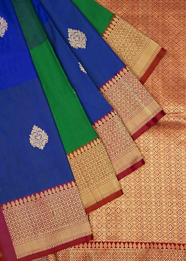 Brilliant blue and evergreen saree in silk only on Kalki