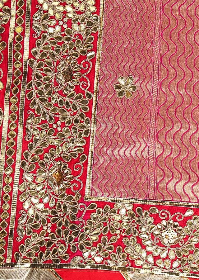 Brocade silk saree with shaded pink hues and gotta patch work only on Kalki
