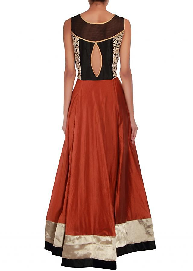 Bronze anarkali embellished in zari and thread embroidery only on Kalki