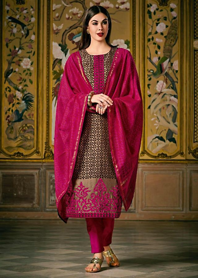 Brow Self Printed Suit With Applique Embroidered Hem Line Online - Kalki Fashion