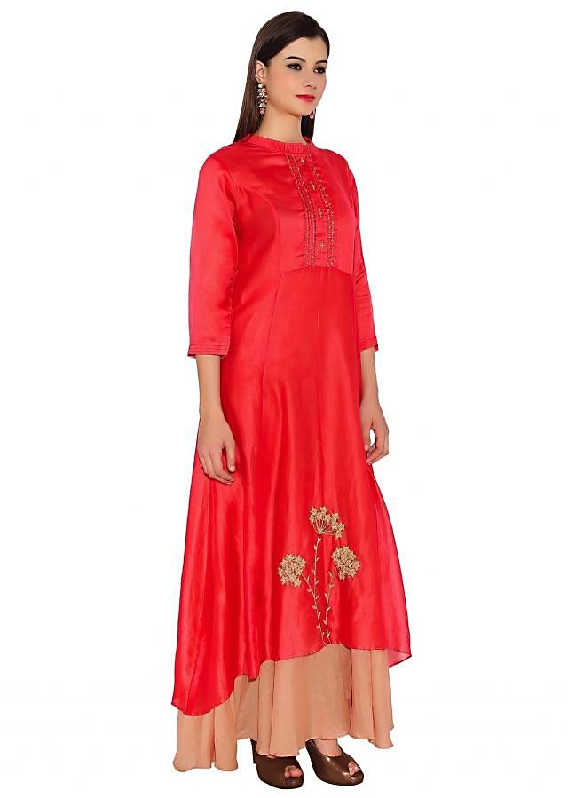Brown & Coral Pink Cotton Kurti With Diamond Button Placket And Flower Thread Embroidery At Bottom Only On Kalki
