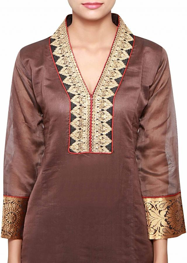 Brown a-line kurti in silk embellished in zari and brocade only on Kalki