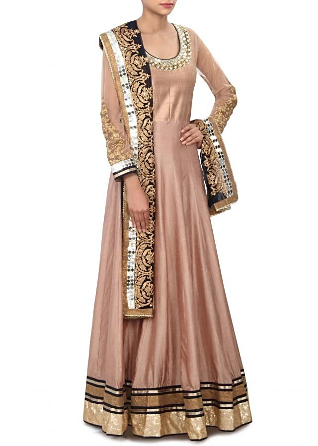 Brown anarkali suit adorn in mirror and aari embroidery only on Kalki