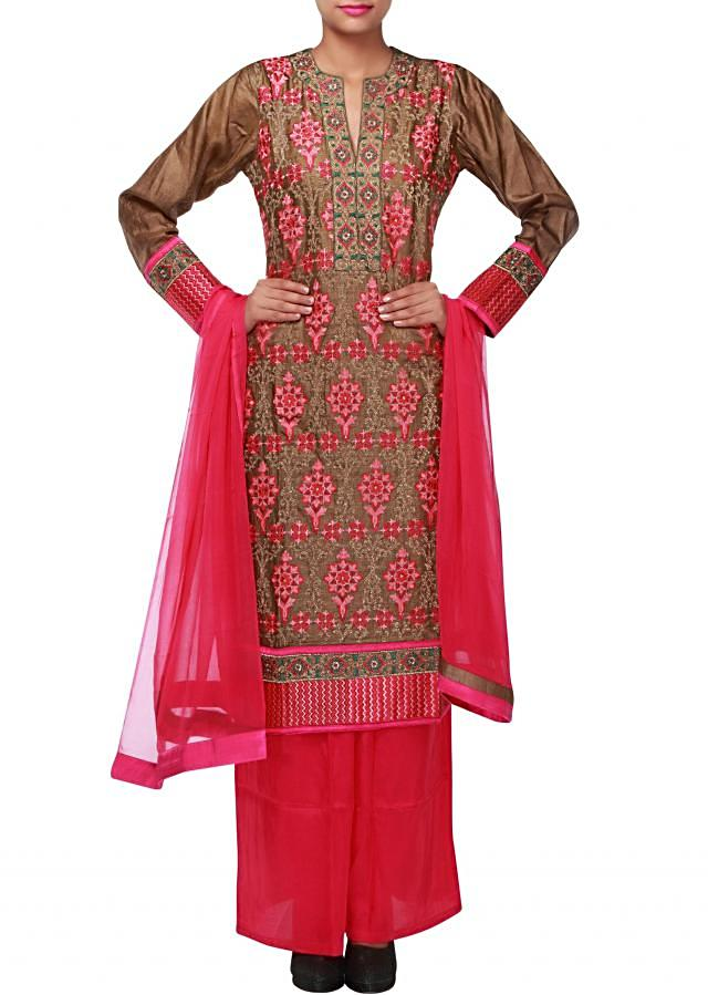 Brown anarkali suit featuring in resham and zari embroidery only on Kalki