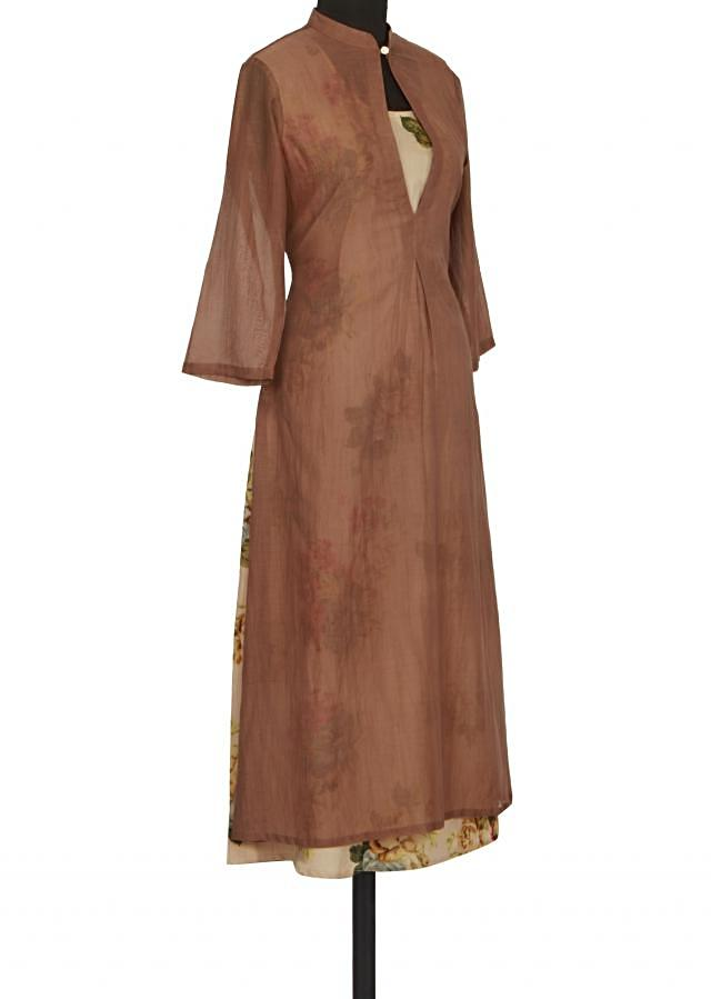 Brown and cream kurti in floral print only on Kalki